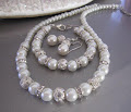 Wedding Jewelry Set, Pearl and Crystal, Rhinestone Necklace Bracelet and Earring Set