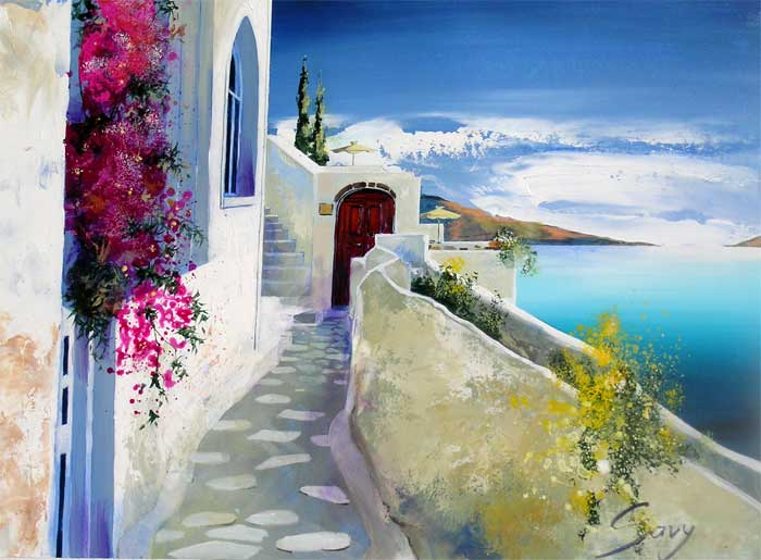 André Savy | French Landscape painter | Santorini Walkway