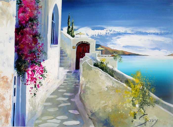Andr 233 Savy Santorini Walkway Tutt Art Pittura