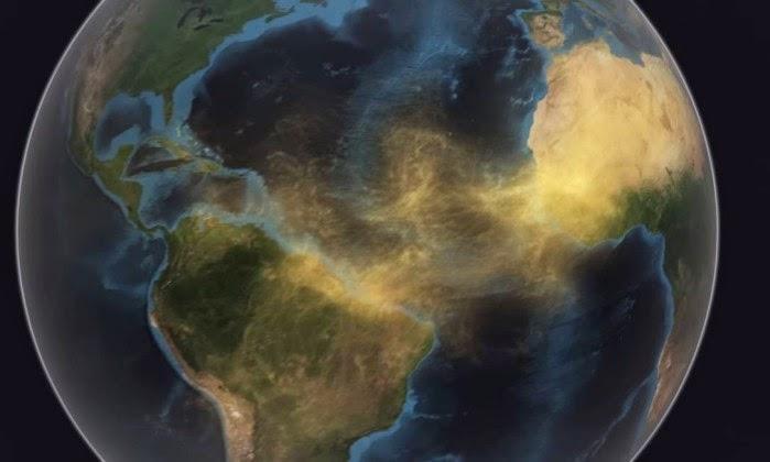 Poeira do Saara a viajar para a Amazónia