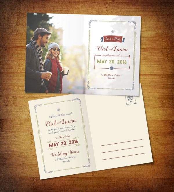 Plantilla de postal para boda gratis [Illustraitor]