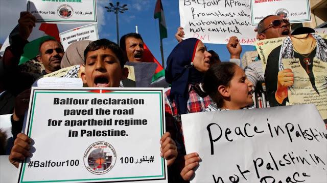 Palestinos condenan al Reino Unido por la Declaración de Balfour