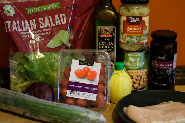 The ingredients needed to make the Ultimate Greek Salad with Chicken