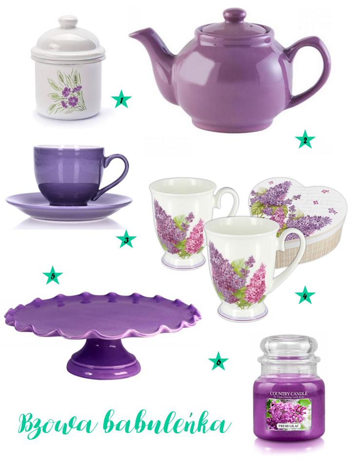 Fioletowe kubki, filiżanki; fioletowa patera, lilac
