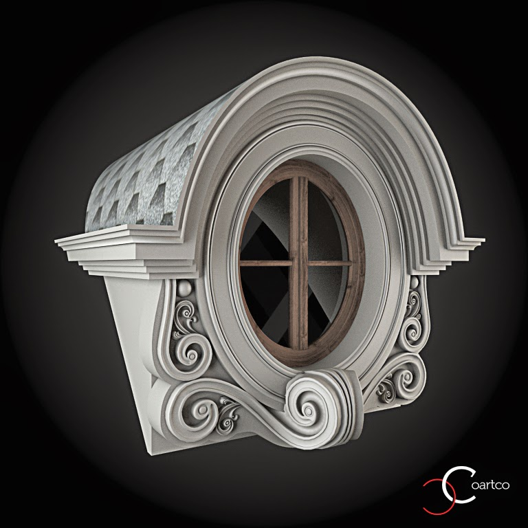Ornameate Geamuri Rotunde Exterior, fatade case cu profile decorative polistiren, profile fatada,  Model Cod: WIN-095