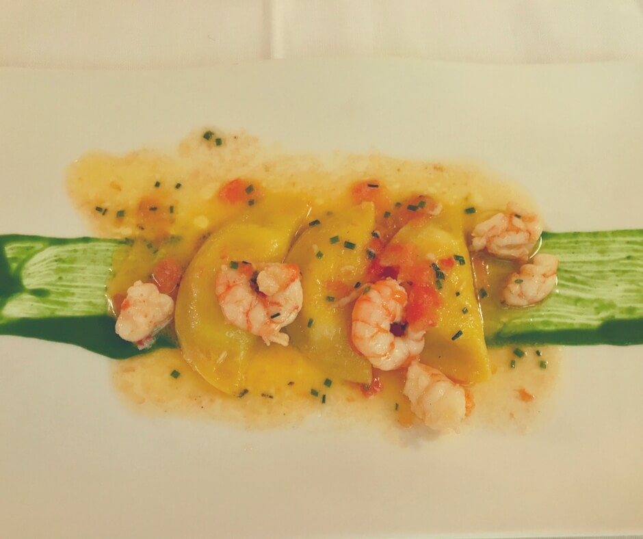 prawns with cheese ravioli - Alla Corone, Venice