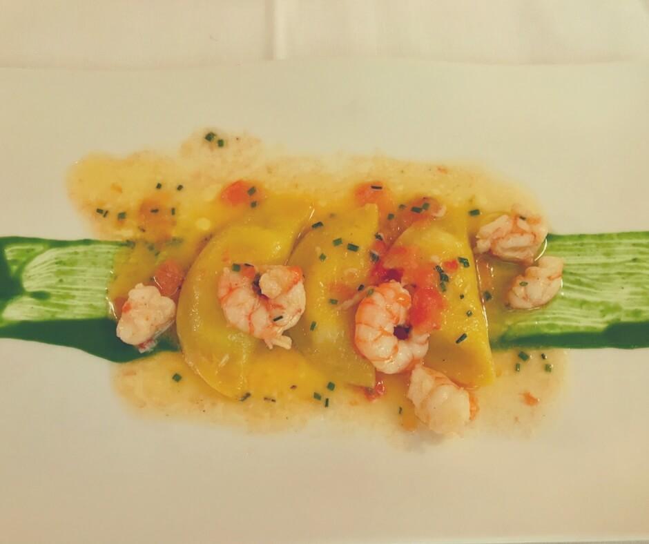 prawns with cheese ravioli - Alla Corone, Venice