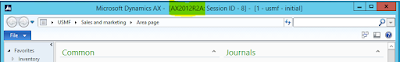 Screenshot of the top bar of AX with Microsoft Dynamics AX - [AX2012R2A: Session ID - 8] - {1 - usmf - install}