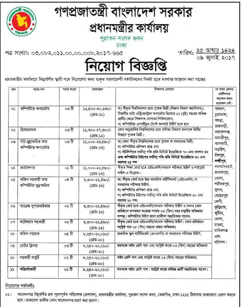 PMO Job Circular 2017 Bangladesh Recent Govt Job