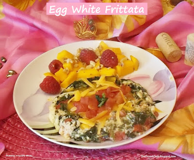 egg white frittata, spinach, tomatoes, cheddar cheese photo by candy dorsey