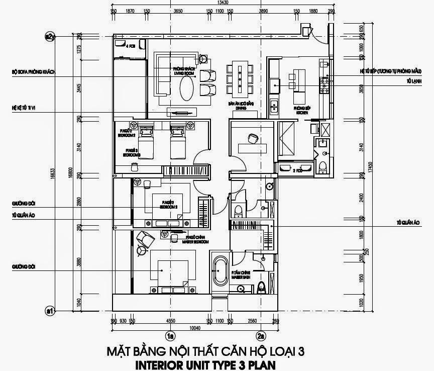 Bản vẽ thiết kế căn hộ CH3 - 186m2 Chung cư Dolphin Plaza