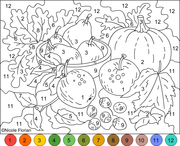 nicole39s free coloring pages color by number autumn colors
