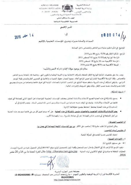 مذكرة تدبير الفائض والخصاص بمديرية شيشاوة 2017/2016