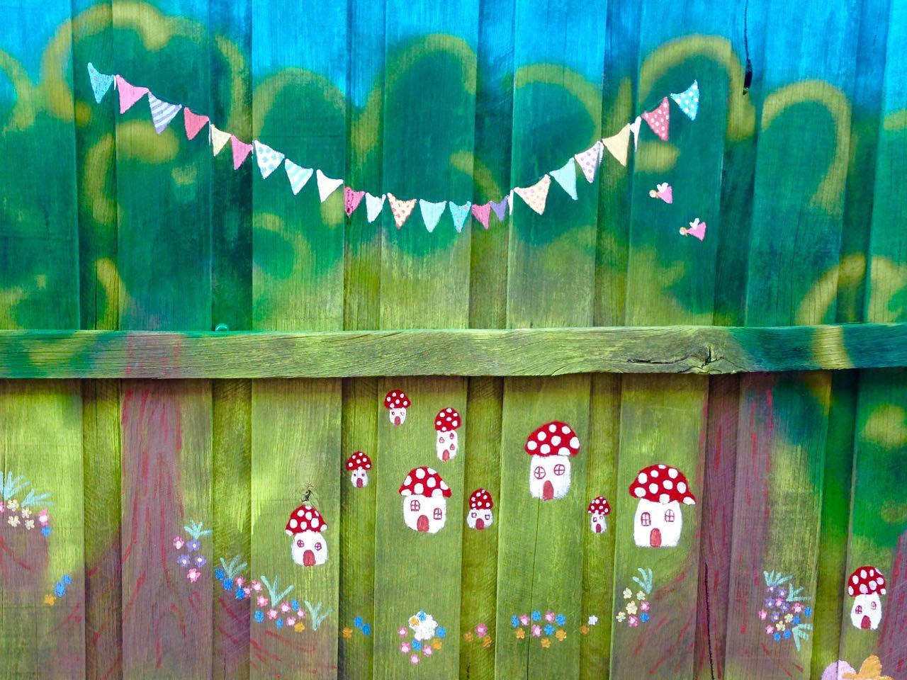 Green gourmet giraffe a backyard mural forest fairies for Fairy forest mural