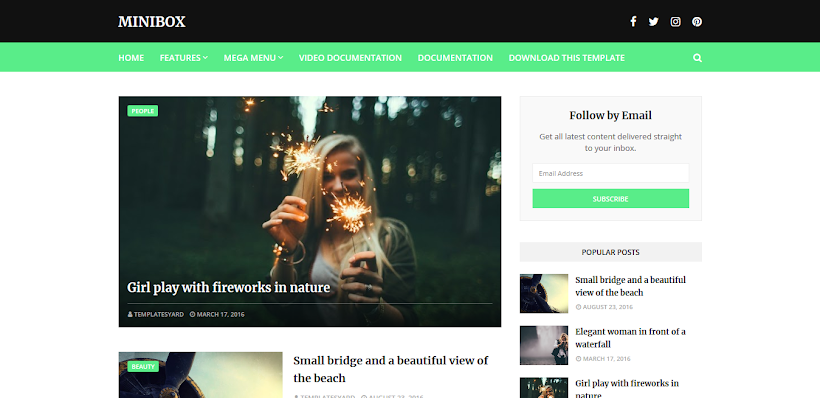 MiniBox Free Blogger Template