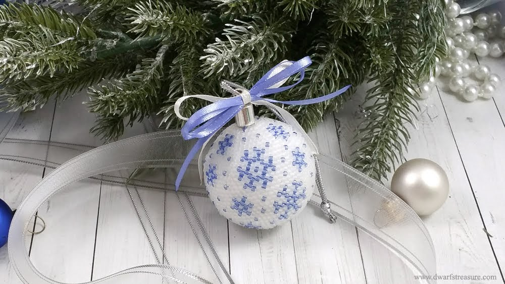 blue & white crochet beaded holiday decoration