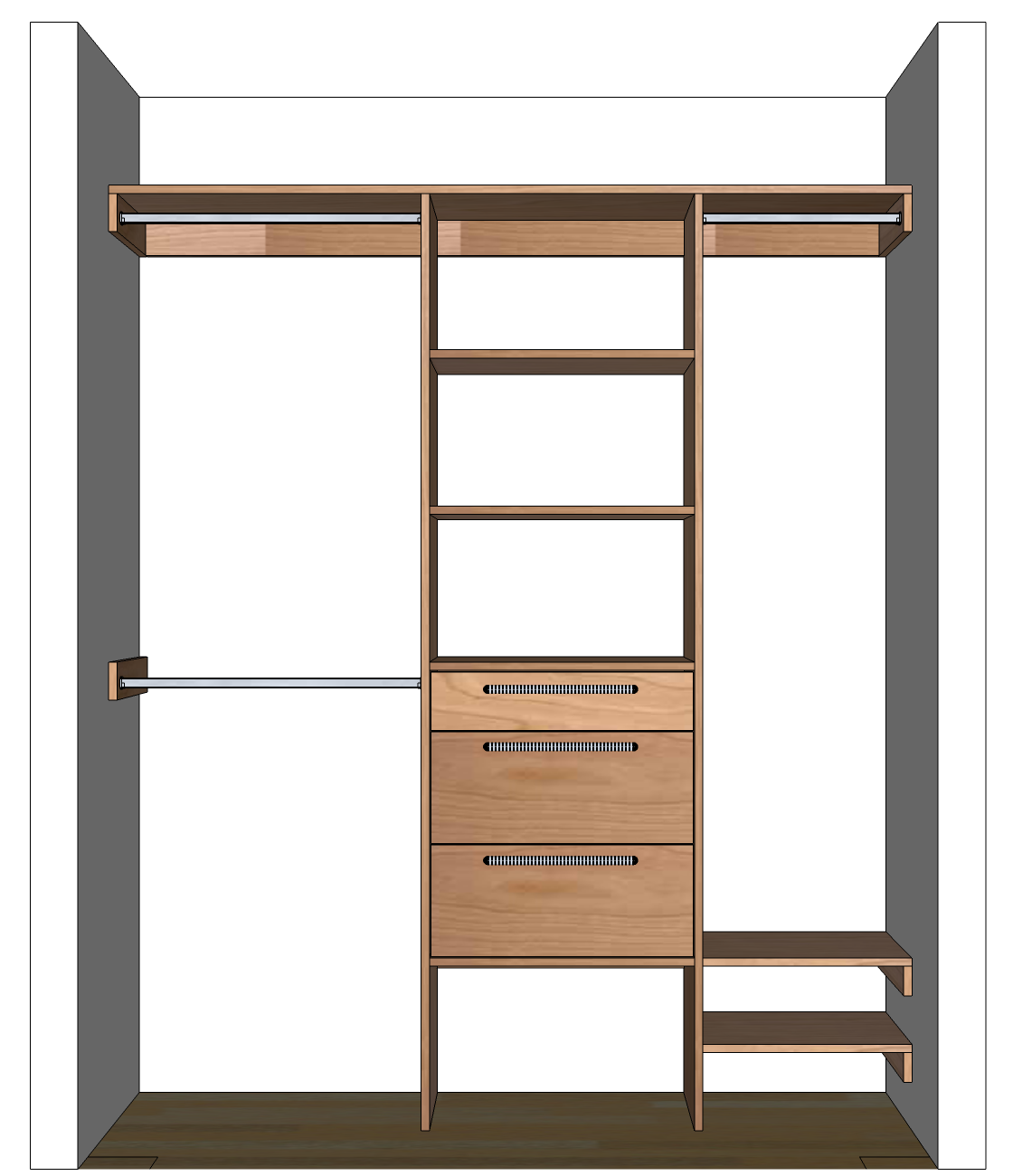 Diy closet organizer plans for 5 39 to 8 39 closet Wardrobe cabinet design woodworking plans