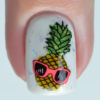 cool pineapple stamped nail art
