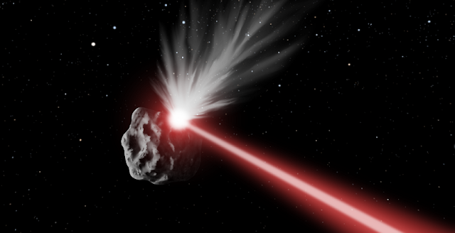 Planetary defense by high-powered laser: material ablated off a would-be impactor alters its trajectory by conservation of momentum to avert an impact. Image Credit: Q. Zhang