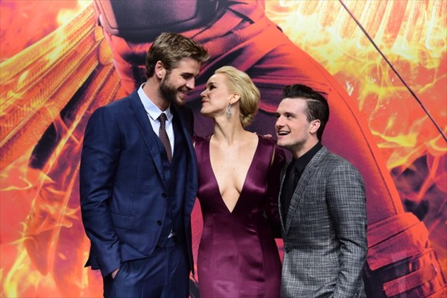 Liam Hemsworth, Jennifer Lawrence and Josh Hutcherson at the premiere of The Hunger Games: Hope - Part 2 in Berlin