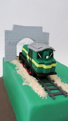 tarta fondant tren antiguo sin gluten
