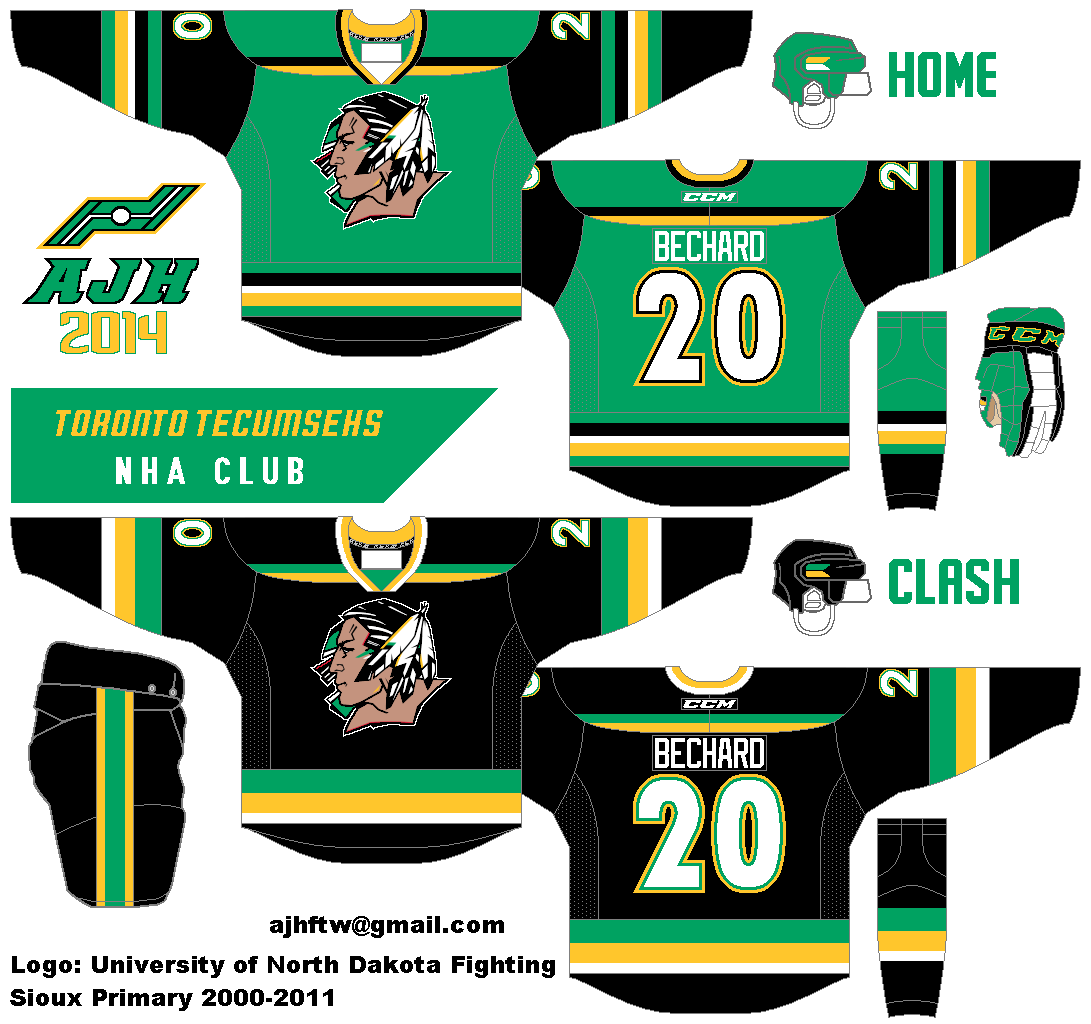 3219baee49c Alan revives the Tecumsehs with what looks like a mixture between the  University of North Dakota and the Minnesota North Stars. I must say