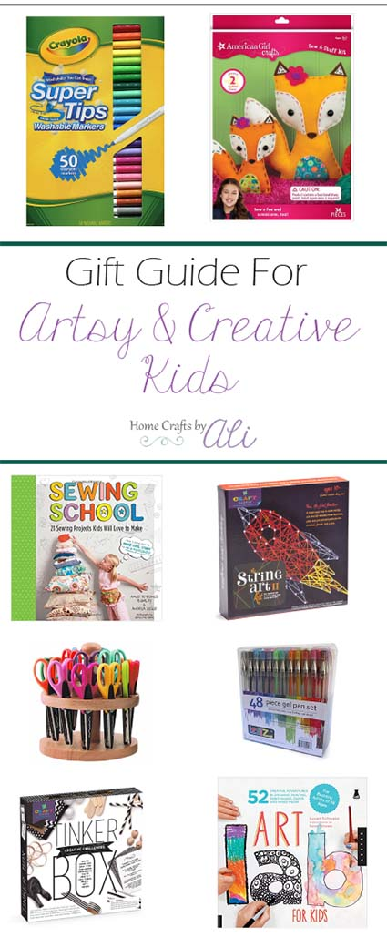 gift guide for artistic and creative kids or tweens craft supplies art kits creative books stem toys