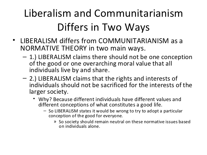 communitarianism a liberal response essay Liberal and communitarian theories of government responsive communitarianism movement in the early 1990s, in response to the perceived breakdown in the moral fabric of responsive communitarianism stresses the importance of society and its institutions above and beyond that of.