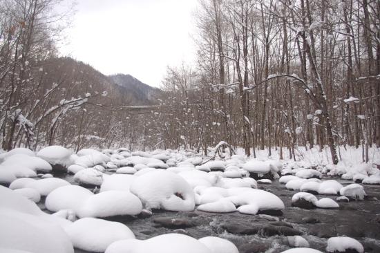 絶好のポイントが連続する雪の渓