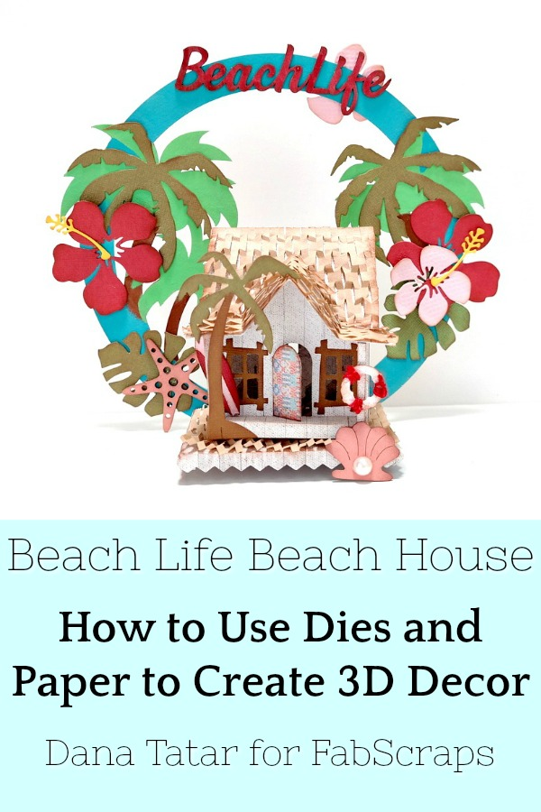 Surf Shack Paper Beach Hut with Tropical Flowers Shells and Palm Trees
