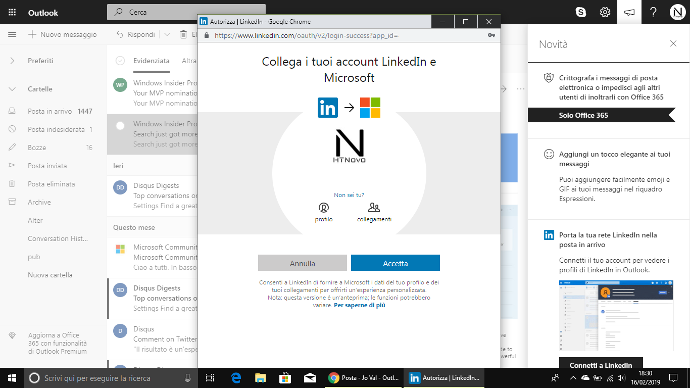Connettere-Linkedin-Outlook.com