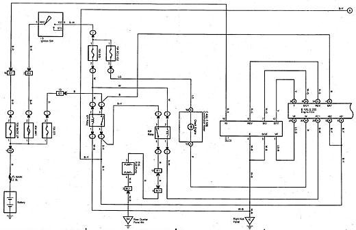 terlihat bahwa fungsi relay fuel pump di kontrol oleh ecu  agar tidak  mengganggu sistem kerja ecu, maka pemutusan jalur ke fuel pump diposisikan  pada output