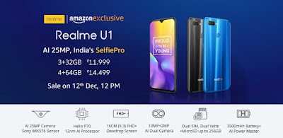 Buy Realme U1 Online at Amazon India Sale On 12th Dec, 12 PM