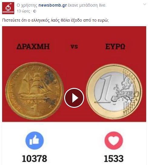 Δημοσκόπηση: Πιστεύετε ότι ο Ελληνικός λαός θέλει έξοδο από το ευρώ;