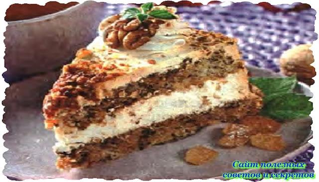 Тортик «Любимый» Рецепт приготовления с орехами