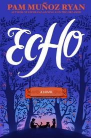 Cover of Echo. The silhouettes of three children sit between four symmetrically arranged trees against a deep blue background. The title appears in white between the branches of the two outermost trees.