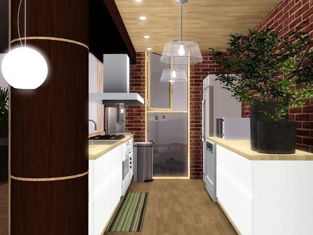 cuisine design blanche sims 3