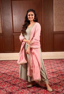 Keerthy Suresh in Pink Dress for Pandem Kodi 2 Promotions 5
