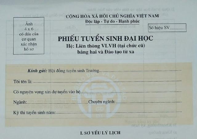 Thủ tục hồ sơ dự thi Liên thông Đại học Sư phạm Hà Nội