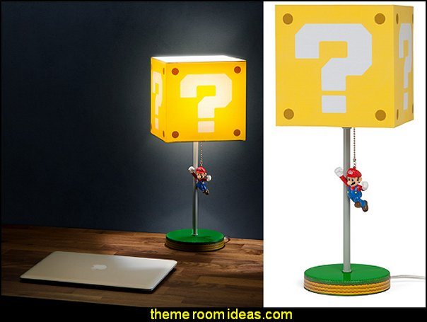 Jumping Super Mario Question Block Lamp  Gamer bedroom - Video game room decor - gamer bedroom furniture - gamer wall decal stickers - Super Mario Brothers Wall Stickers - gamer bedding - Super Mario Brothers bedding -