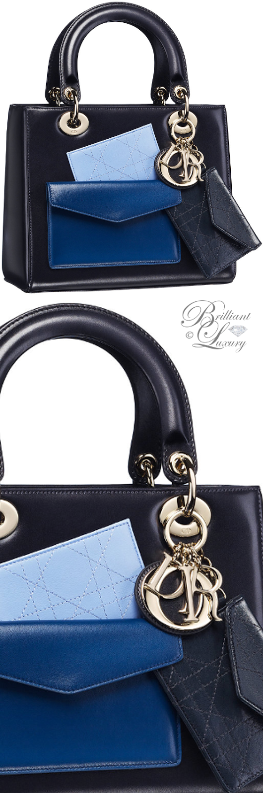 Brilliant Luxury ♦ Dior Lady Dior 'Box Calfskin With Multicoloured Pockets' Bag