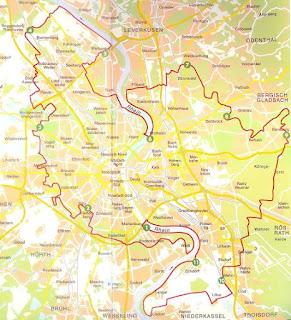 Eine Karte, die den Verlauf des Kölnpfads zeigt