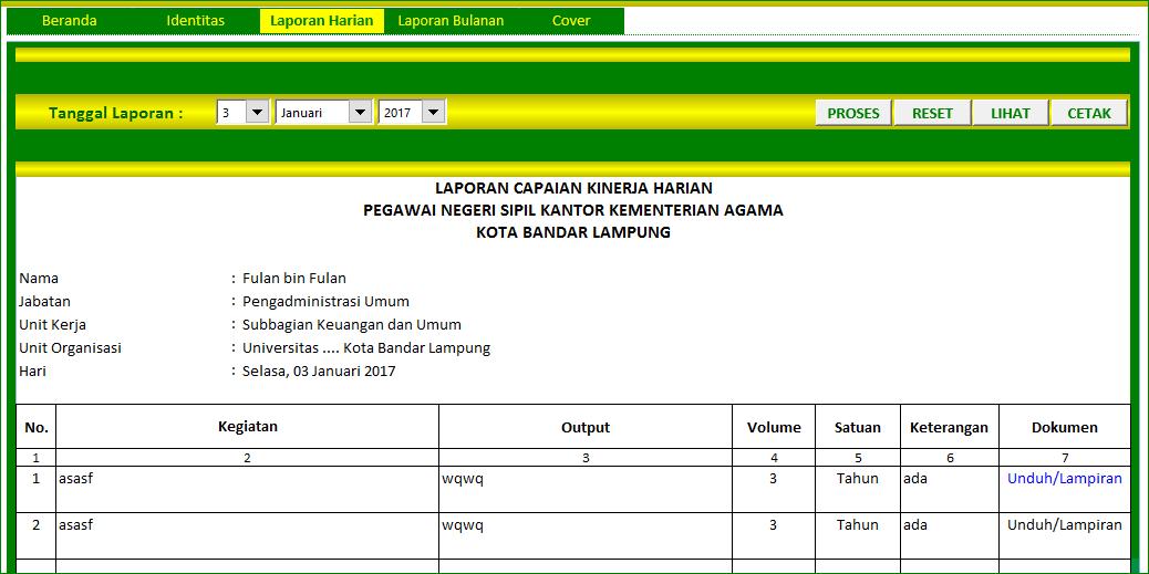 Aplikasi Excel Laporan Kinerja Harian Excelmaniacs