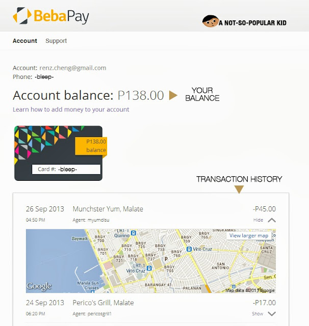 BebaPay Account - Transaction History and Balance