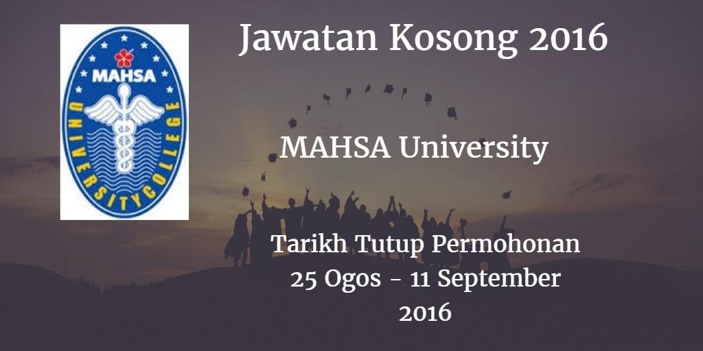 Jawatan Kosong MAHSA University 25 Ogos - 11 September 2016