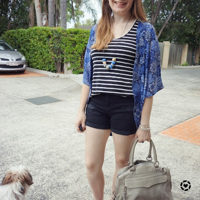 awayfromblue instagram Jamie jeanswest printed kimono pattern mixing stripe tank denim shorts