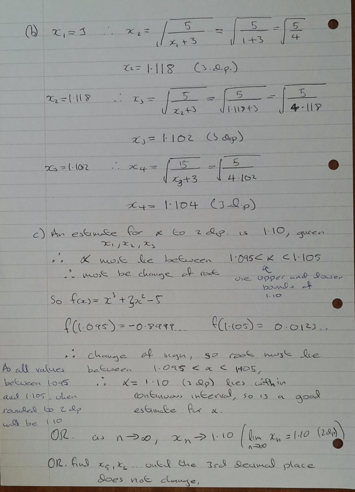 A Level Maths Notes A2 Numerical Methods Fixed Point