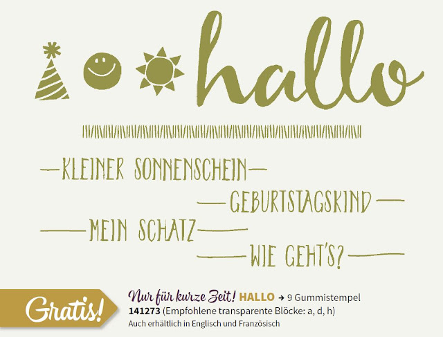 Stempelset Hallo, Sale-a-Bration, Stampin Up