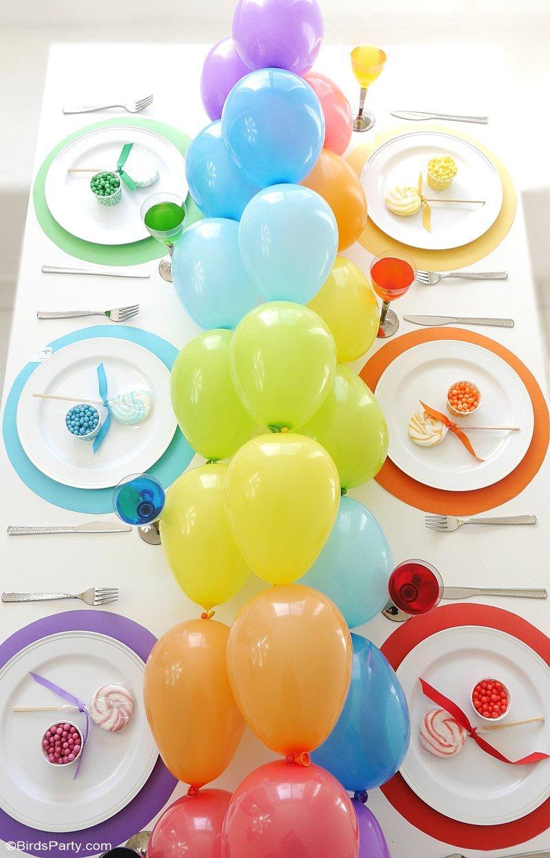 Rainbow Tablescape & DIY Balloon Garland - simple & fun ideas for styling a creative rainbow table with colorful balloon party decor as a table runner!   BirdsParty.com @birdsparty
