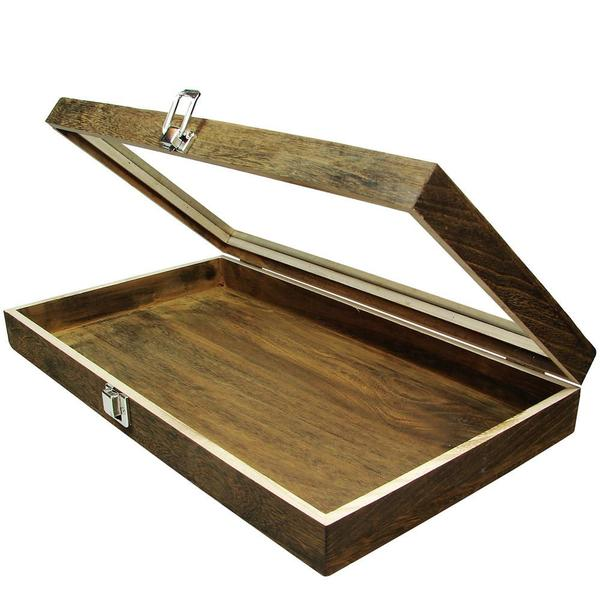 Th Antique Wood Storage Case with Tempered Glass View Top is perfect for storage and display | NileCorp.com
